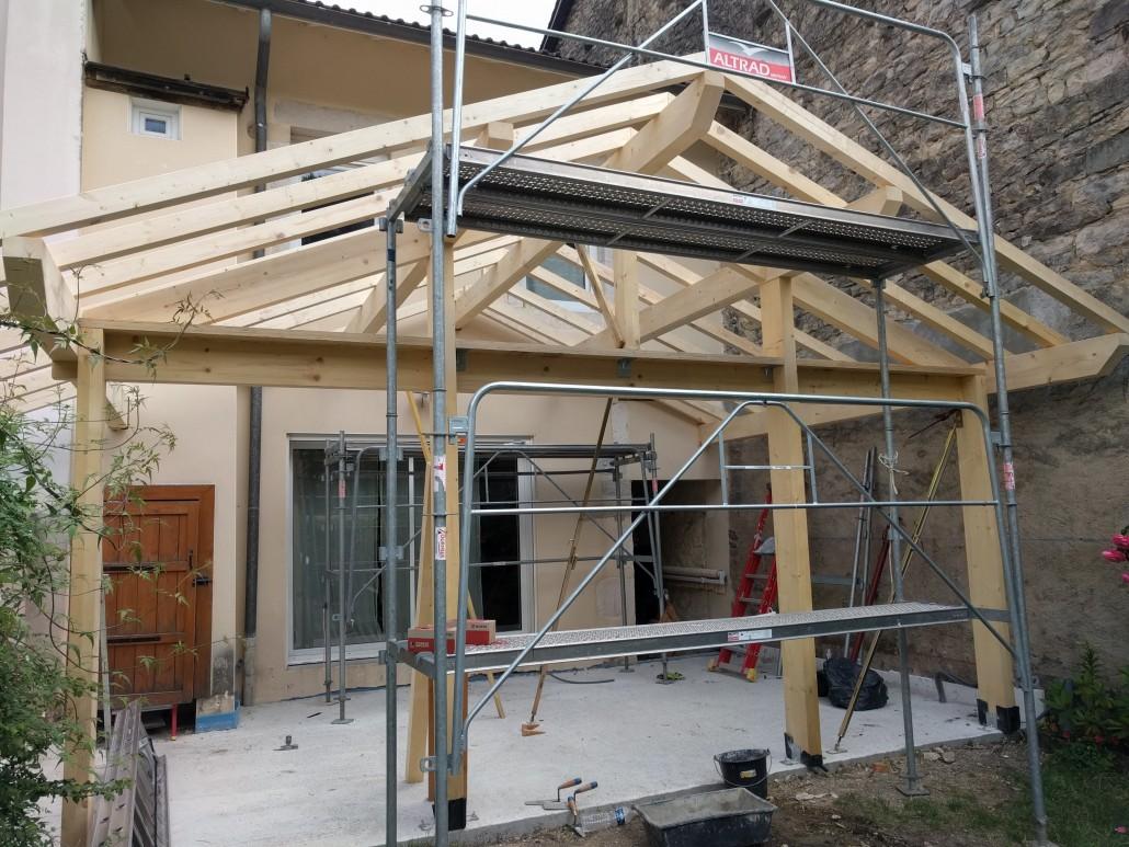 Pose de la structure bois en cours
